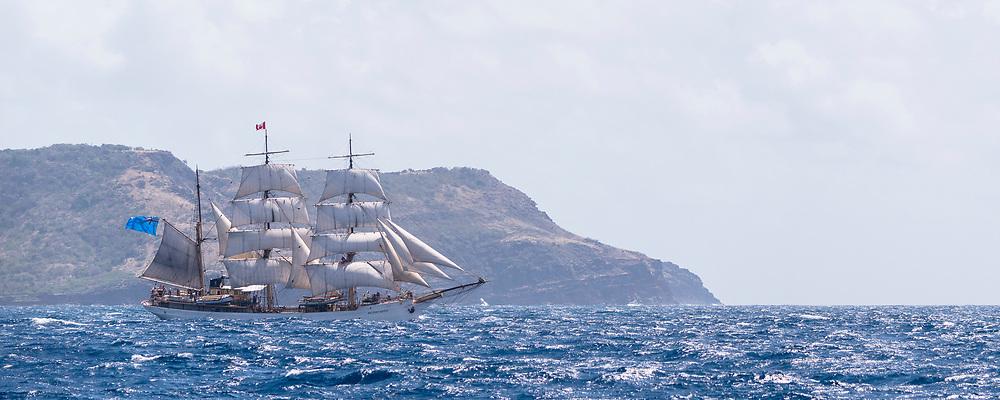 Picton Castle sailing in the Antigua Classic Yacht Regatta, Cannon Race.