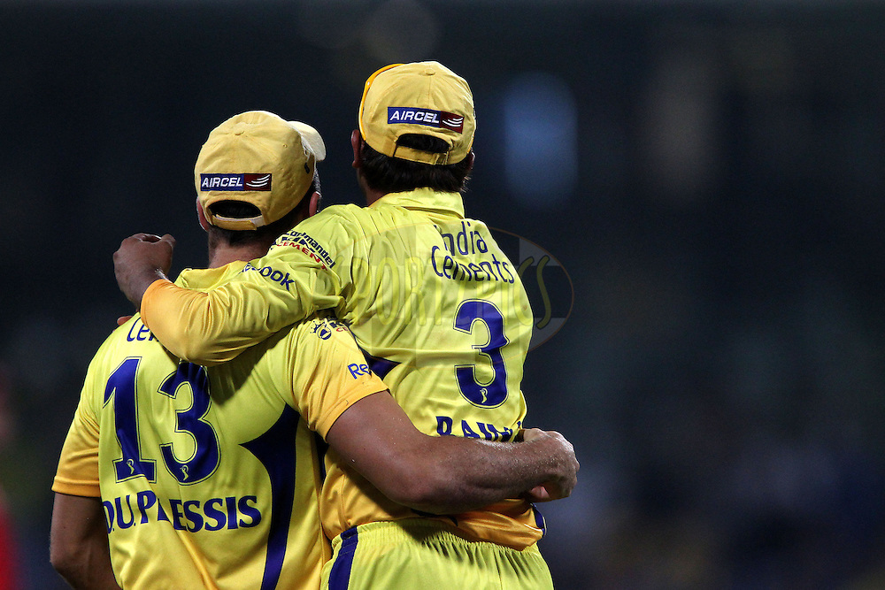Suresh Raina and Faf du Plessis celebrate the wicket of Cameron White during match 39 of the Indian Premier League ( IPL ) Season 4 between the Chennai Superkings and The Deccan Chargers held at the MA Chidambaram Stadium in Chennai, Tamil Nadu, India on the 1st May 2011..Photo by Ron Gaunt/BCCI/SPORTZPICS