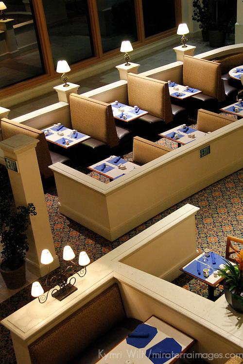 USA, Florida, Orlando. Dining Tables at Rosen Shingle Creek Resort.