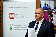 Katowice, Poland - 2018 June 08: Andrzej Mysliwiec (the University of Physical Education in Katowice) speaks while Science Conference during National Special Olympics Games 2018 at The Jerzy Kukuczka Academy of Physical Education on June 08, 2018 in Katowice, Poland.<br /> <br /> Adam Nurkiewicz declares that he has no rights to the image of people at the photographs of his authorship.<br /> <br /> Picture also available in RAW (NEF) or TIFF format on special request.<br /> <br /> Any editorial, commercial or promotional use requires written permission from the author of image.<br /> <br /> Image can be used in the press when the method of use and the signature does not hurt people on the picture.<br /> <br /> Mandatory credit:<br /> Photo by © Adam Nurkiewicz / Mediasport