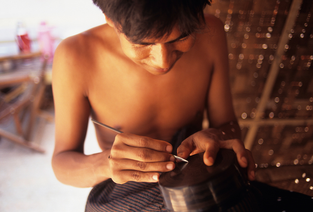Lacquerware workers at Bagan