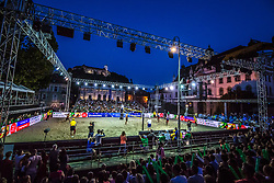 An overview of the center court at Ljubljana Beach Volley 2017, on July 22, 2017 in Ljubljana, Slovenia. Photo by Morgan Kristan / Sportida