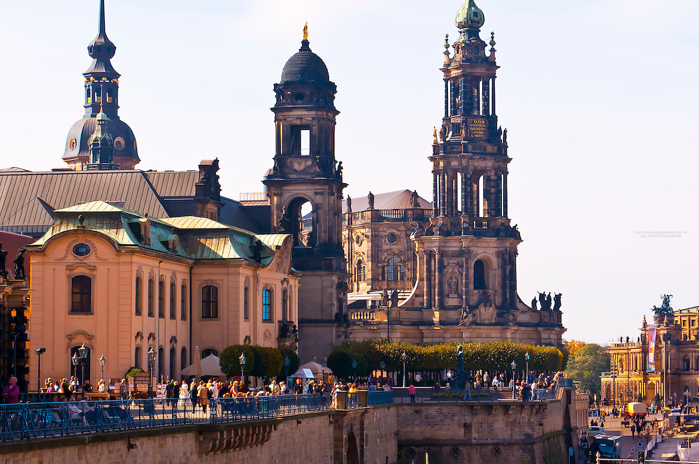 Bruhl's Terrace, with the Hofkirche beside and the Semper Opera House on right, Dresden, Saxony, Germany