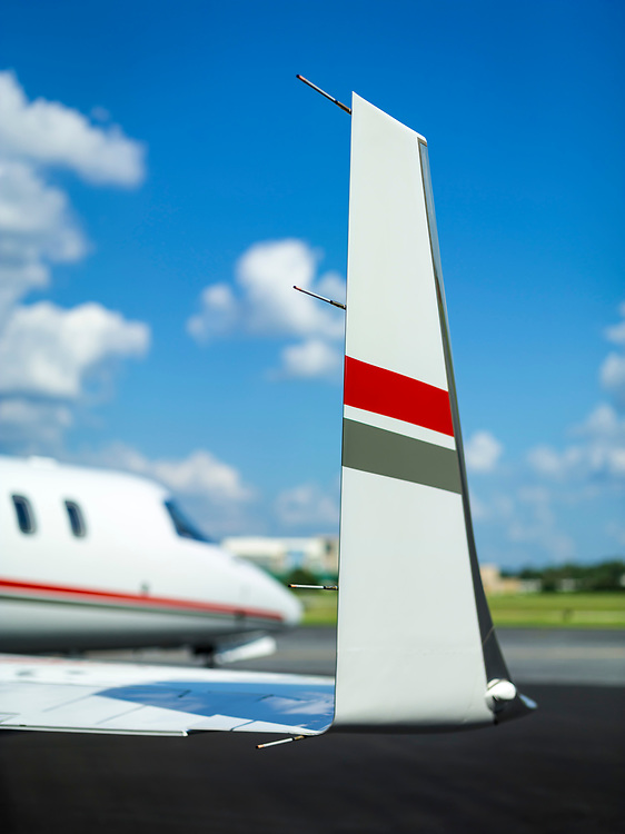 Winglet on a Learjet 45, photographed on the Southern Company ramp at Dekalb Peachtree Airport (PDK), in Atlanta, Georgia.  <br /> <br /> Created by aviation photographer John Slemp of Aerographs Aviation Photography. Clients include Goodyear Aviation Tires, Phillips 66 Aviation Fuels, Smithsonian Air & Space magazine, and The Lindbergh Foundation.  Specialising in high end commercial aviation photography and the supply of aviation stock photography for advertising, corporate, and editorial use.