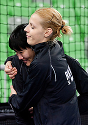 Ljudmila Bodnieva and Gorica Acimovic of Krim celebrate after the handball match between RK Krim Mercator and Larvik HK (NOR) of Women's EHF Champions League 2011/2012, on November 13, 2011 in Arena Stozice, Ljubljana, Slovenia. Larvik defeated Krim 22-19 but both teams qualified to new round. (Photo By Vid Ponikvar / Sportida.com)