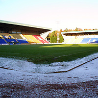 A clear pitch at McDermid Park, Perth thanks to the undersoil heating, hopefully tommorrow's game against Hearts will go ahead<br />