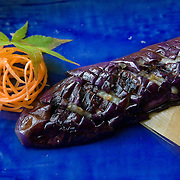 Grilled Japanese eggplant with salt at Kushi, an Izakaya and Sushi restaurant in downtown Washington, DC.