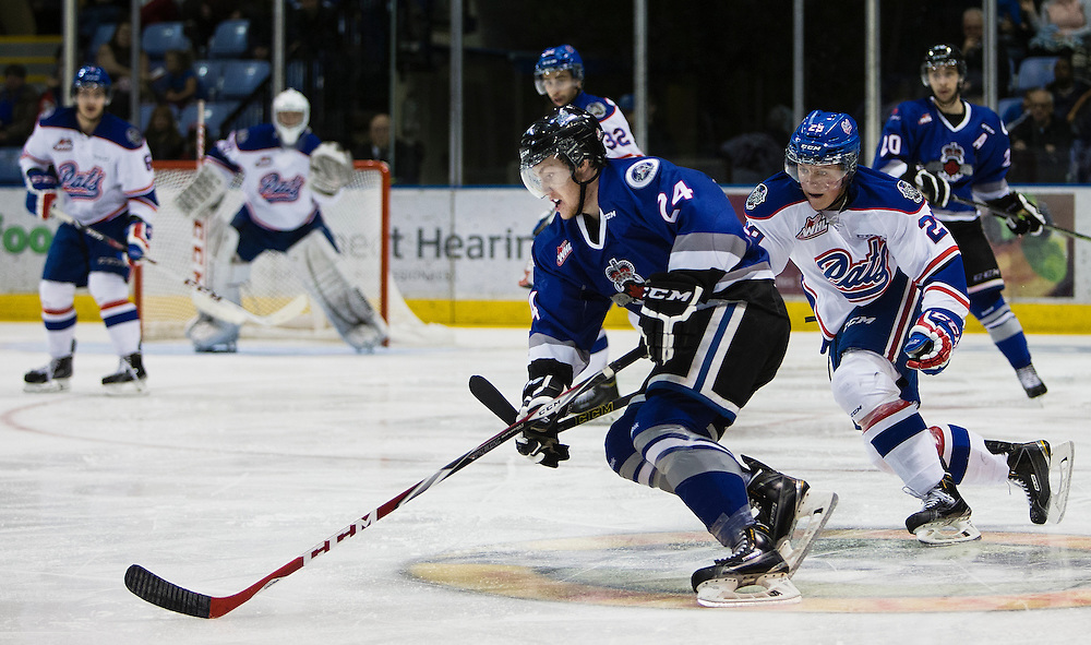 VICTORIA B.C. - NOVEMBER 22:  The Victoria Royals goaltender Jayden Sittler shutout the Regina Pats 5-0 in Western Hockey League action at the Save-On-Foods Memorial Centre on November 22nd, 2014 in Victoria, British Columbia, Canada. (Photo by Kevin Light/Victoria Royals)