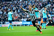 Matt Ritchie (#11) of Newcastle United beings to celebrate a goal before realising he was called offside during the Premier League match between Newcastle United and Bournemouth at St. James's Park, Newcastle, England on 4 November 2017. Photo by Craig Doyle.
