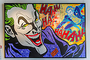 The Joker. Opera Gallery London presents a selection of canvas works by the world renowned 'Godfather of Graffiti'- Seen. The exhibition takes inspiration from the growing American comic book cultural phenomenon, paying homage to some of the world's most iconic crime fighters and villains; including Batman, Wonder Woman, Superman and includes his 'dazzling' depiction of Captain America. Opera Gallery, New Bond Street, London.