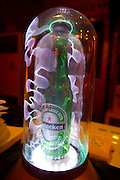 Huhai and Qianhai Lake nightlife district. Heineken beer bottle with artificial St. Elmo's fire.