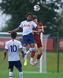 KIRKBY, ENGLAND - Saturday, August 10, 2019: Tottenham Hotspur's Kazaiah Sterling and Liverpool's Morgan Boyes during the Under-23 FA Premier League 2 Division 1 match between Liverpool FC and Tottenham Hotspur FC at the Academy. (Pic by David Rawcliffe/Propaganda)