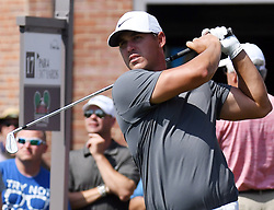 May 26, 2018 - Fort Worth, TX, USA - Brookes Koepka watches his tee shot playing the 17th hole during the third round of the Fort Worth Invitational PGA Tournament at Colonial Country Club Saturday May 26, 2018 in Fort Worth, Texas. (Credit Image: © Bob Booth/TNS via ZUMA Wire)