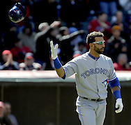 CLEVELAND, OH USA - APRIL 5: Toronto's Jose Bautista strikes out in his first at bat at the game between the Cleveland Indians and Toronto Blue Jays at Progressive Field in Cleveland, OH, USA on Thursday, April 5, 2012.