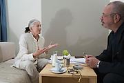 Vanessa Redgrave being interviewed by Derek Weber for Salon magazine, in her suite at Hotel le Meridien, Vienna.