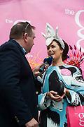 03/08/2017   Repro free    Galway Races  g Hotel best hat winner  Oneisa Owens from Cavan being interviewed by Galway Bay Fm's Ollie Turner .   Photo: Andrew Downes, xposure