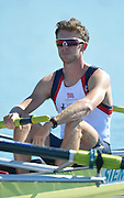 Varese,  ITALY. 2012 FISA European Championships, Lake Varese Regatta Course. ..GBR LM4-,  Adam FREEMAN-PASK,  at the start of their heat of the Men's lightweight Four...{TIME  {DOW}  14/09/2012.....[Mandatory Credit Peter Spurrier:  Intersport Images]  ..2012 European Rowing Championships ..Rowing, European,  2012 010729.jpg....