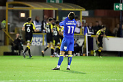 AFC Wimbledon attacker Harry Forrester (11) with shirt on face after Rotherham score during the EFL Sky Bet League 1 match between AFC Wimbledon and Rotherham United at the Cherry Red Records Stadium, Kingston, England on 17 October 2017. Photo by Matthew Redman.