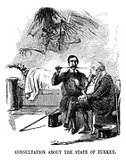 Consultation About the State of Turkey. (a Victorian cartoon shows the nightmare ghost of Russia with a cat 'o nine tails whip hovering above the bed of Turkey's Sultan Abdul Mejid I as Napoleon III and Lord Palmerston discuss their sick patient)