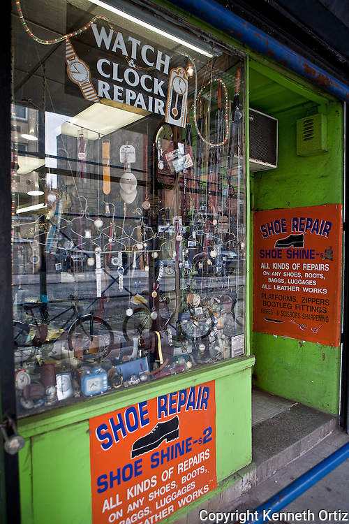 Watch & Shoe repair store in the Village downtown New York City.