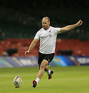 Charlie Hodgson of Saracens pictured during training ahead of the Heineken Cup Final at the Millennium Stadium, Cardiff<br /> Picture by Michael Whitefoot/Focus Images Ltd 07969 898192<br /> 24/05/2014