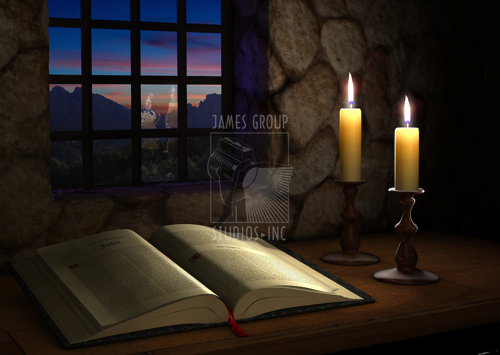 Open Bible illuminated by two candles in front of a window at dusk
