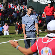Ryder Cup 2016. Day Three. Rory McIlroy of Europe reacts as he misses a putt on the fourteenth during the Sunday singles competition at  the Ryder Cup tournament at Hazeltine National Golf Club on October 02, 2016 in Chaska, Minnesota.  (Photo by Tim Clayton/Corbis via Getty Images)