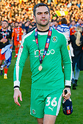 CHAMPIONS Luton Town goalkeeper James Shea (36) celebrates after winning the league title after the EFL Sky Bet League 1 match between Luton Town and Oxford United at Kenilworth Road, Luton, England on 4 May 2019.