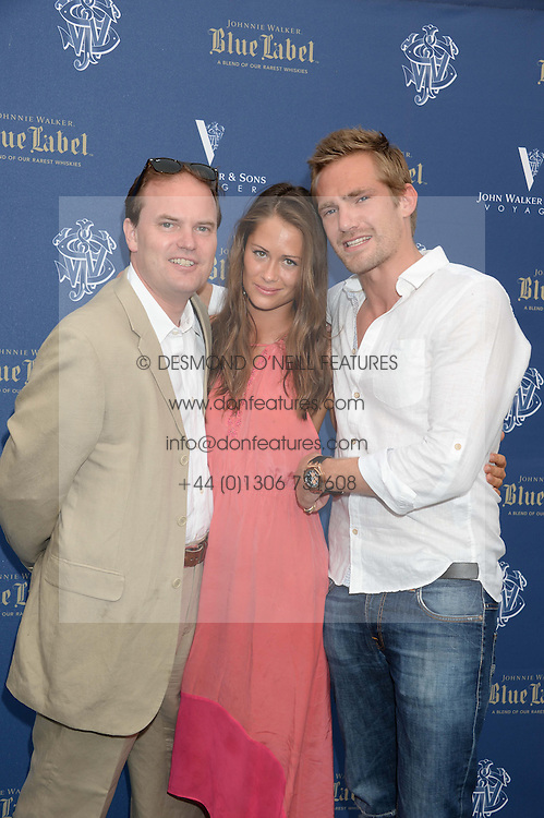 The Johnnie Walker Blue Label and David Gandy Drinks Reception aboard John Walker & Sons Voyager, St.Georges Stairs Tier, Butler's Wharf Pier, London, UK on 16th July 2013.<br /> Picture Shows:-Lord Dalmeny, Alexandra Bowes-Lyon and Jacobi Anstruther-Gough-Calthorpe.