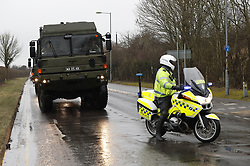 © Licensed to London News Pictures. 09/03/2018. Salisbury, UK. Military vehicles arrive at Salisbury District hospital. Former Russian spy Sergei Skripal and his daughter Yulia are critically ill after being poisoned with nerve agent. The couple where found unconscious on bench in Salisbury shopping centre. A policeman who went to their aid is recovering in hospital. Photo credit: Peter Macdiarmid/LNP
