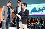Uitreiking Sportprijs Utrecht 2014 at Jaarbeurs Utrecht: (L-R) Niels Kerstholt wordt geïnterviewd na het winnen van de uitverkiezing van de sportman van het jaar 2014 uit Utrecht