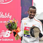 Bashir Abdi 2nd winner of the elite race at The Vitality Big Half 2019 on 10 March 2019, London, UK.