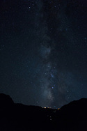 Grand Canyon National Park, South Rim, view from Plateau Point, Milky Way, El Tovar hotel lights, Arizona