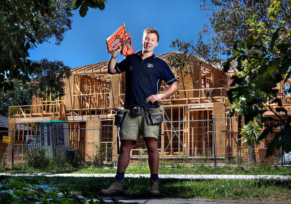 Australian 21 year ols, for Sunday Age Australia Day special. 21 year old apprentice carpenter James Angelotti. Pic By Craig Sillitoe CSZ/The Sunday Age.30/12/2011 melbourne photographers, commercial photographers, industrial photographers, corporate photographer, architectural photographers, This photograph can be used for non commercial uses with attribution. Credit: Craig Sillitoe Photography / http://www.csillitoe.com<br />