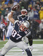 New England Patriots tight end Rob Gronkowski celebrates his third quarter touchdown with a spike in the end zone. The Colts visited Gillette Stadium for the AFC Championship game with the New England Patriots Sunday, January 18, 2015.