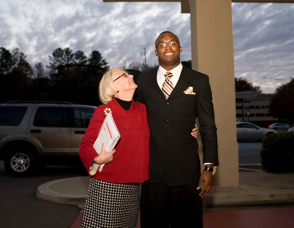 Birmingham, AL - November 22, 2008 - Sally Karioth, Profesor of Nursing at Florida State University, and a mentor to football player Myron Rolle pose for a portrait after learning that Myron had won a Rhodes Scholarship..Photo by Susana Raab