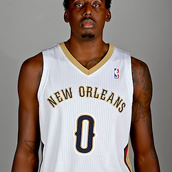 Sep 30, 2013; Metairie, LA, USA; New Orleans Pelicans small forward Al-Farouq Aminu (0) poses for a portrait at Pelicans Practice Facility. Mandatory Credit: Derick E. Hingle-USA TODAY Sports