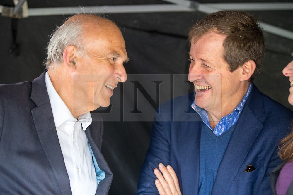 © Licensed to London News Pictures . 01/10/2017. Manchester, UK. SIR VINCE CABLE and ALISTAIR CAMPBELL . Thousands of people take part in an anti Brexit pro EU demonstration at All Saints Park in Manchester during the Conservative Party Conference , which is taking place at the Manchester Central Convention Centre . Photo credit: Joel Goodman/LNP
