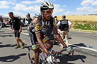 Sykkel<br /> Foto: PhotoNews/Digitalsport<br /> NORWAY ONLY<br /> <br /> A MTN - Qhubeka rider, victim of the crash during the stage 3 of the 102nd edition of the Tour de France 2015 with start in Antwerp and finish in Huy, Belgium (159 kms) *** HUY, BELGIUM - 6/07/2015
