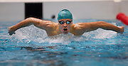 Samuel Perry of the Aqua Knights team competes in the 16+ Men's 200m Butterfly race during the Senior Zonal Championship at the Wellington Regional Aquatic Centre in Kilbirnie in Wellington on Friday the 4th of October 2013. Photo by Marty Melville/www.photosport.co.nz