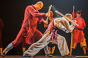 "A monk has a stave broken on his back - Twenty Shaolin monks, from their  temple in the foothills of the Song Shang mountain range in China's Henan province, take to the stage to demonstrate their martial arts expertise in an 'awe-inspiring' performance. SHAOLIN is a display of theatre and physical prowess in which the cast perform ""superhuman"" feats. The show combines traditional Shaolin Kung Fu, inch perfect choreography with dramatic lighting and sound that evokes the spirit of their tradition – their Temple being the birthplace of Kung Fu.  These are the very best Shaolin Kung Fu experts on the planet and they have come together to create this show. The Shaolin Monks are lifted aloft on sharpened spears, break marble slabs with their heads, perform handstands on two finger tips,splinter wooden staves with their bodies, break bricks on their heads and fly through the air in a series of incredible back flips. The show embarks upon a three-week run at The Peacock Theatre, London from 29 September – 17 October 2015."
