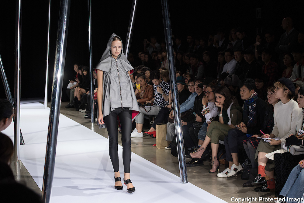 OCTOBER 21: A model  presents the Keiichirosense collection at the Amazon Fashion Week Tokyo's 2017 Spring/Summer show under way at Shibuya Hikarie in Tokyo on Oct. 21, 2016. and other locations through 23rd. Nearly 50 fashion brands and companies will hold their shows at several locations through 23rd.. 21/10/2016-Tokyo, JAPAN