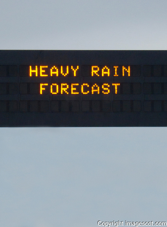 Motorway warning sign, HEAVY RAIN FORECAST