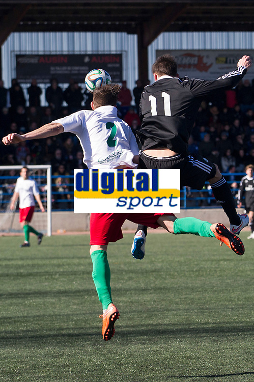 Trival Valderas's Polo and Real Madrid Castilla´s Medran during 2014-15 Spanish Second Division B match between Trival Valderas and Real Madrid Castilla at La Canaleja stadium in Alcorcon, Madrid, Spain. February 01, 2015. (ALTERPHOTOS/Luis Fernandez)