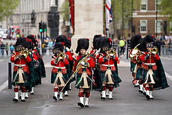 © Licensed to London News Pictures. 25/04/2019. London, UK. A military band perform in a ceremony at The Cenotaph on Whitehall to mark Anzac Day. Photo credit : Tom Nicholson/LNP