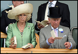 Prince Charles with The Duchess of Cornwall  look at horses in the parade ring from the royal box at Royal Ascot 2013<br /> Ascot, United Kingdom<br /> Wednesday, 19th June 2013<br /> Picture by Andrew Parsons / i-Images