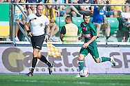 Mateusz Machaj of Slask Wroclaw controls the ball during international friendly soccer match between WKS Slask Wroclaw and BVB Borussia Dortmund on Municipal Stadium in Wroclaw, Poland.<br /> <br /> Poland, Wroclaw, August 6, 2014<br /> <br /> Picture also available in RAW (NEF) or TIFF format on special request.<br /> <br /> For editorial use only. Any commercial or promotional use requires permission.<br /> <br /> Mandatory credit:<br /> Photo by © Adam Nurkiewicz / Mediasport