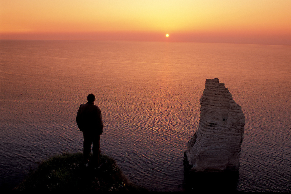 Sea Cliffs at sunset,  Etretat, Normandie, Normany, France