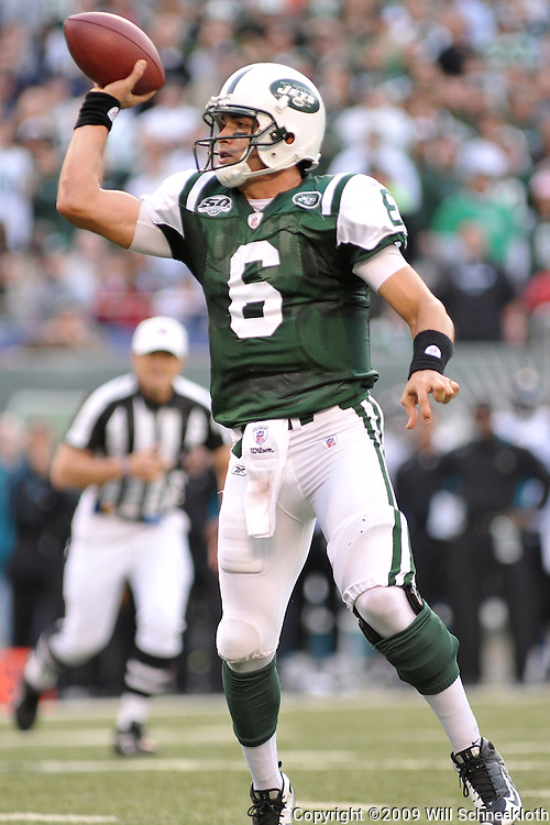 Nov 15, 2009; East Rutherford, NJ, USA; New York Jets quarterback Mark Sanchez (6) throws a pass during second half NFL action in the Jacksonville Jaguars 24-22 victory over the New York Jets at Giants Stadium.