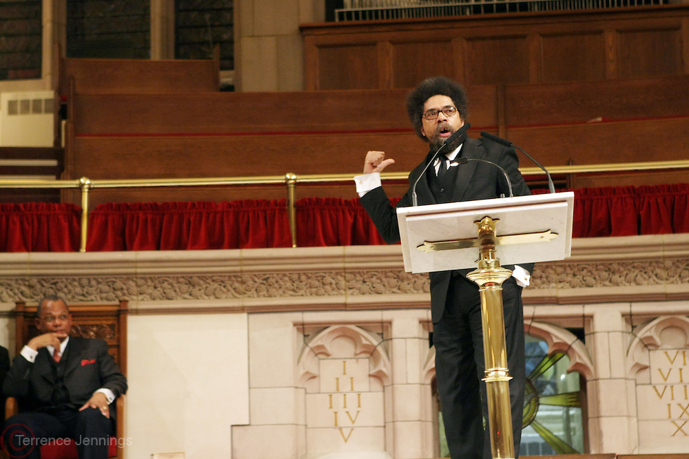 l to r: Rev. Calvin Butts and Cornell West at The Cornell West Talk held at The Abyssynia Baptist Church in Harlem , NYC April 1, 2009